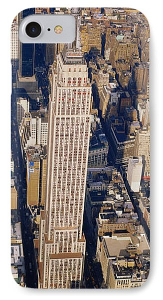 Aerial View Of Empire State Building IPhone Case by Panoramic Images