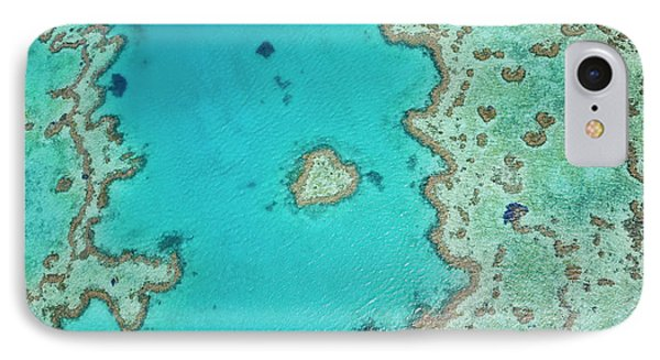 Aerial View Of Heart Reef, Part IPhone Case by Peter Adams