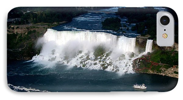 Aerial View Of Niagara Falls And River And Maid Of The Mist IPhone Case by Rose Santuci-Sofranko