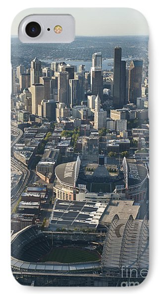 Aerial View Of Seattle Skyline With The Pro Sports Stadiums IPhone Case