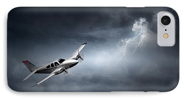 Risk - Aeroplane In Thunderstorm IPhone Case by Johan Swanepoel