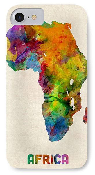 Africa Watercolor Map IPhone Case by Michael Tompsett
