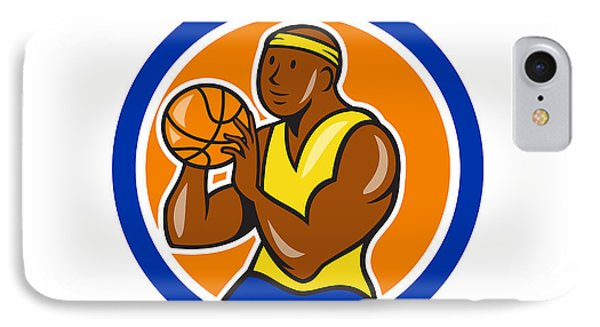 African-american Basketball Player Shooting Cartoon Circle IPhone Case by Aloysius Patrimonio