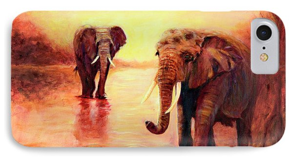 IPhone Case featuring the painting African Elephants At Sunset In The Serengeti by Sher Nasser