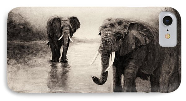 IPhone Case featuring the painting African Elephants At Sunset by Sher Nasser