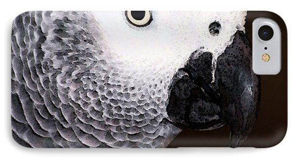 African Gray Parrot Art - Seeing Is Believing IPhone Case by Sharon Cummings