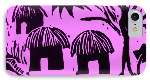 African Huts Pink Phone Case by Caroline Street