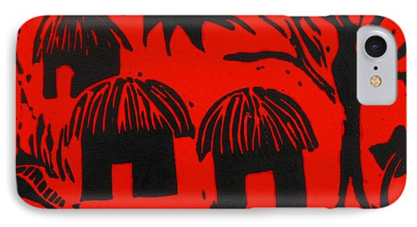 African Huts Red Phone Case by Caroline Street