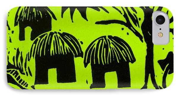 African Huts Yellow Phone Case by Caroline Street