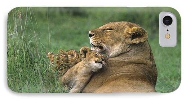 African Lions Mother And Cubs Tanzania IPhone Case by Dave Welling