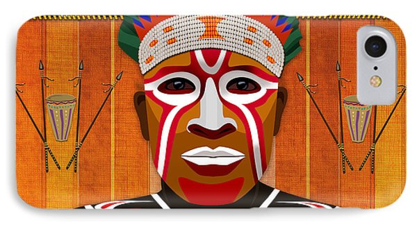 African Tribesman 3 Phone Case by Bedros Awak