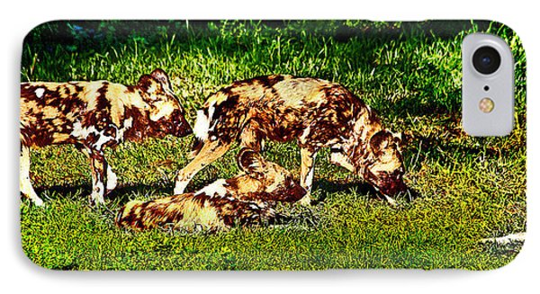 African Wild Dog Family IPhone Case by Miroslava Jurcik