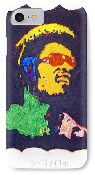 IPhone Case featuring the painting Afro Stevie Wonder by Stormm Bradshaw