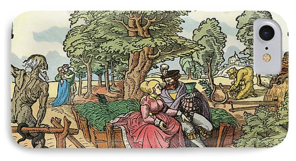 After A 16th Century Woodcut By Peter Flötner Entitled The Hazards Of Love.  Lovers In A Garden IPhone Case by Bridgeman Images