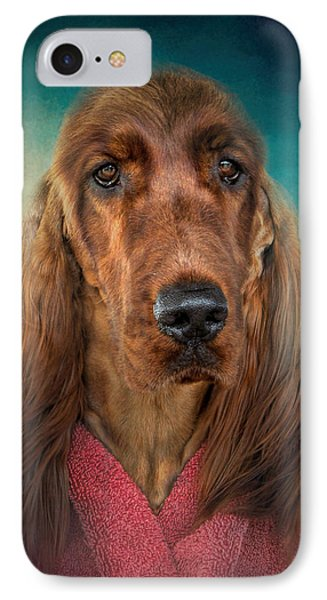 After A Swim - Irish Setter - Dog Art IPhone Case