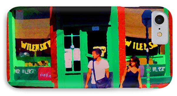 After Lunch At Wilenskys Restaurant Crossing Fairmount Montreal Street Scene Art Carole Spandau Phone Case by Carole Spandau