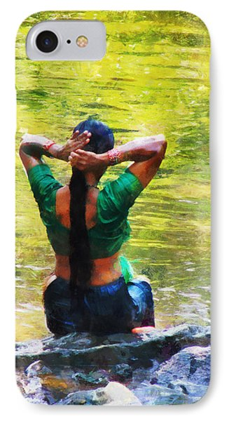 After The River Bathing. Indian Woman. Impressionism Phone Case by Jenny Rainbow