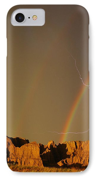 After The Storm - Lightning And Double Rainbow Phone Case by Joan Wallner
