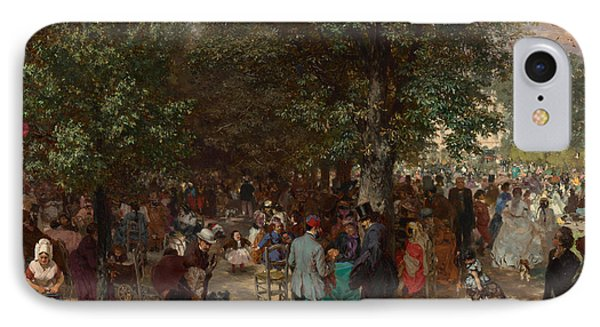 Afternoon In The Tuileries Gardens IPhone Case by Adolph Friedrich Erdmann von Menzel