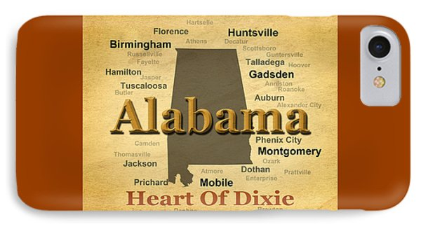 Aged Alabama State Pride Map Silhouette  IPhone Case by Keith Webber Jr