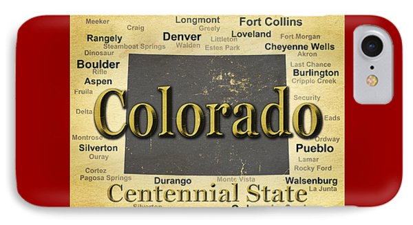 Aged Colorado State Pride Map Silhouette  IPhone Case by Keith Webber Jr