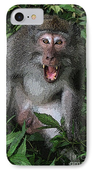 Aggressive Monkey From Bali IPhone Case by Sergey Lukashin