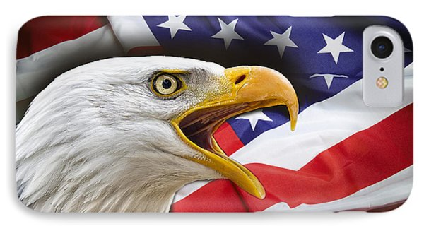 Aggressive Eagle And United States Flag IPhone Case