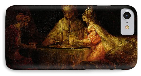 Ahasuerus Xerxes, Haman And Esther, C.1660 Oil On Canvas IPhone Case by Rembrandt Harmensz. van Rijn