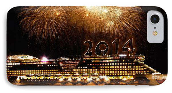 IPhone Case featuring the photograph Aida Cruise Ship 2014 New Year's Day New Year's Eve by Paul Fearn