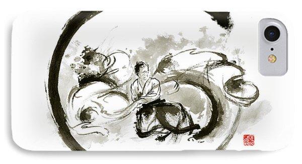 Aikido Enso Circle Martial Arts Sumi-e Original Ink Painting Artwork IPhone Case by Mariusz Szmerdt