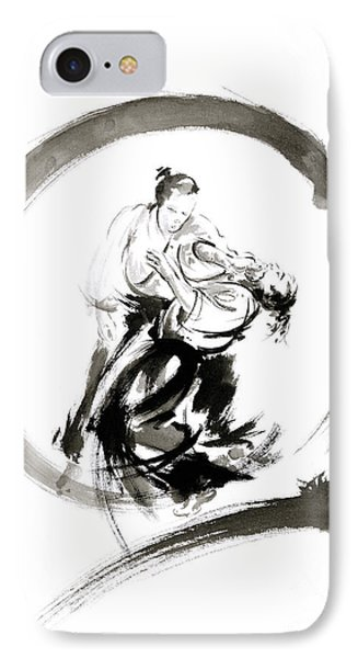 Aikido Enso Circle Martial Arts Sumi-e Samurai Ink Painting Artwork IPhone Case by Mariusz Szmerdt
