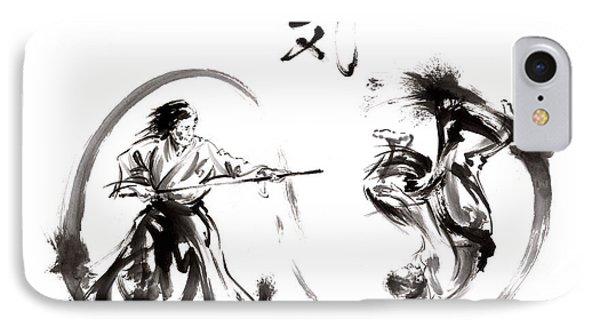 Aikido Federation Show Double Enso Fight Line Circle Painting IPhone Case by Mariusz Szmerdt