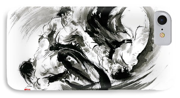 Aikido Randori Fight Popular Techniques Martial Arts Sumi-e Samurai Ink Painting Artwork IPhone Case by Mariusz Szmerdt