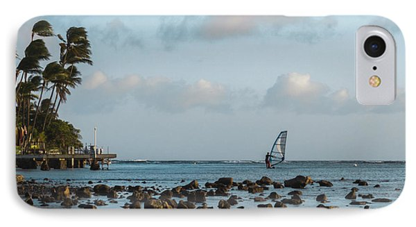 IPhone Case featuring the photograph Aina Haina Windsurfer 1 by Leigh Anne Meeks