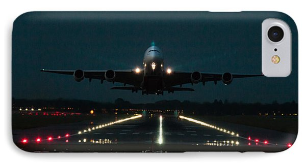 Airbus A380 Take-off At Dusk IPhone Case by Tim Beach