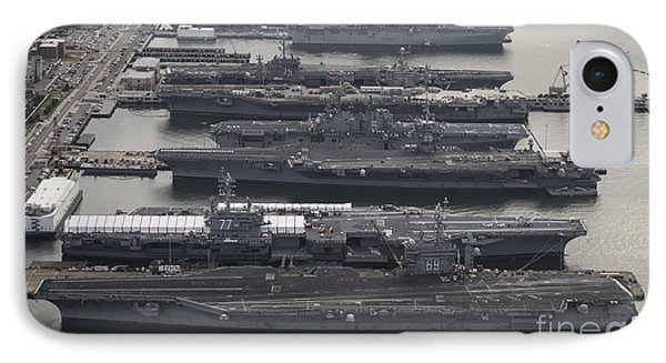 Aircraft Carriers In Port At Naval Phone Case by Stocktrek Images
