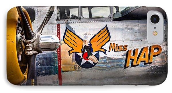 Aircraft Nose Art - Pinup Girl - Miss Hap IPhone Case by Gary Heller