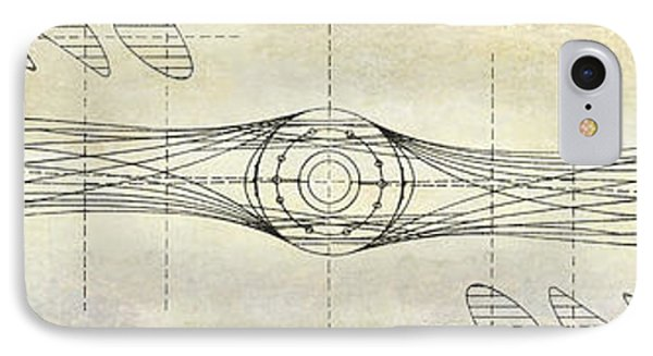 Aircraft Propeller Blueprint Drawing IPhone Case