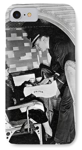 Airline Steward Serves Woman IPhone Case by Underwood Archives