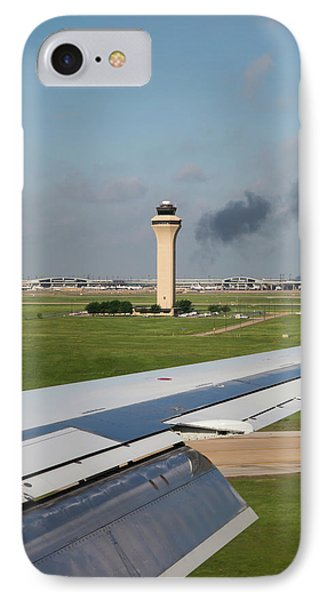 Airport Control Tower And Airplane Wing IPhone Case