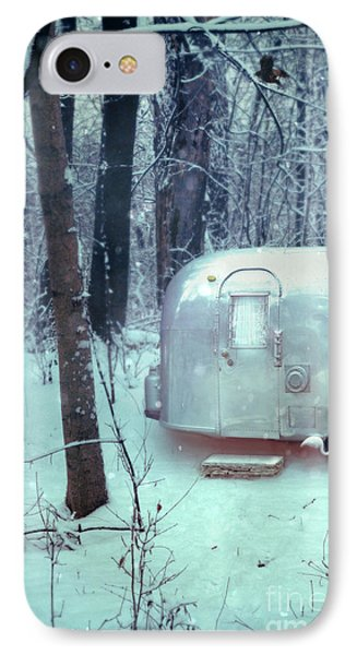 Airstream Trailer In Snowy Woods IPhone Case