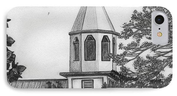 IPhone Case featuring the drawing Ajeltake Steeple by Lew Davis
