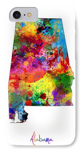 Alabama Map IPhone Case by Michael Tompsett