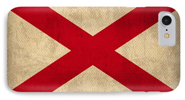 Alabama State Flag Art On Worn Canvas IPhone Case by Design Turnpike