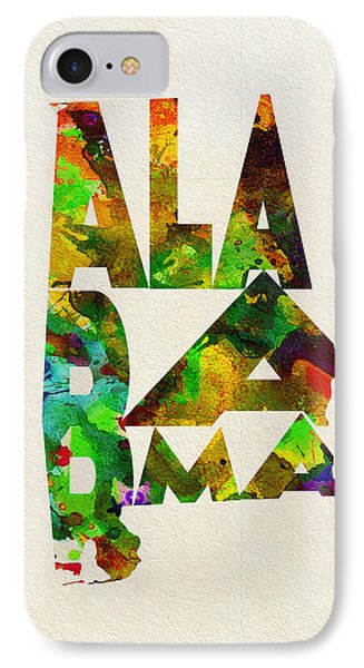 Alabama Typographic Watercolor Map IPhone Case by Ayse Deniz