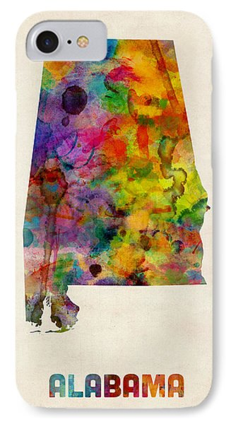 Alabama Watercolor Map IPhone Case