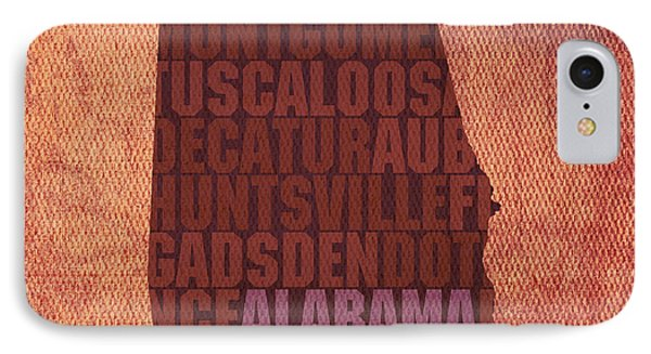 Alabama Word Art State Map On Canvas Phone Case by Design Turnpike
