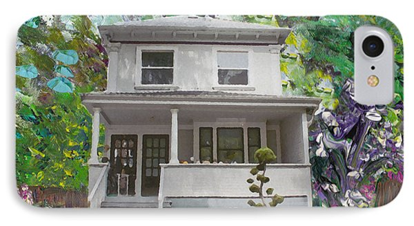 IPhone Case featuring the painting Alameda 1933 Duplex - American Foursquare  by Linda Weinstock