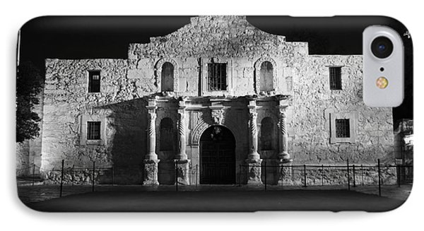 Alamo Mission Entrance Front Profile At Night In San Antonio Texas Black And White IPhone Case by Shawn O'Brien