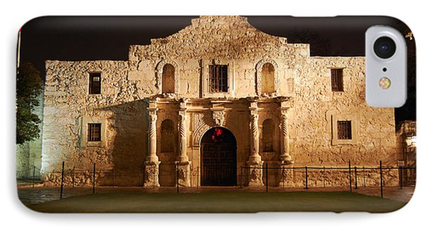 Alamo Mission Entrance Front Profile At Night In San Antonio Texas IPhone Case by Shawn O'Brien